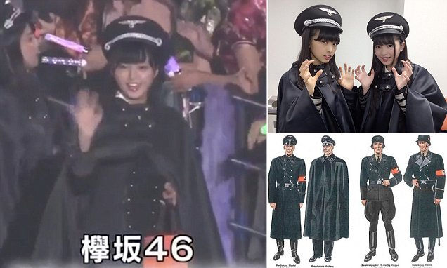 Japanese girl band Keyakizaka46 cause outrage by dressing in NAZI SS-style outfits  | Daily Mail Online